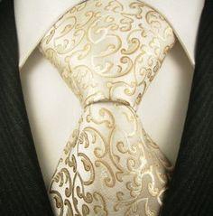 Ivory and Gold Tie - Neckties By Scott Allan, 100% Woven Khakii Floral Tie, Mens Designer Necktie