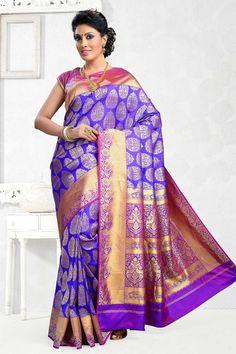 Indigo purple & gold pure silk modish saree with purple & gold border ...