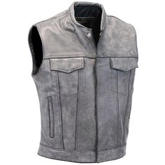 Jamin' Leather Men's Hand Painted Vintage Gray Sleeveless Jacket Vest... ($120) ❤ liked on Polyvore featuring men's fashion, men's clothing, men's outerwear, men's jackets, mens vintage jackets, mens sleeveless vest, mens vest outerwear, mens grey jacket and mens gray vest