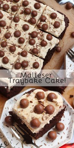 Thick and Fudgey Malteser Traybake Cake with a Malt Fudge Sponge, Malt Buttercream Frosting and Maltesers! Perfect for parties and Malteser fans! Tray Bake Recipes, Baking Recipes, Cake Recipes, Dessert Recipes, Chocolate Traybake, Chocolate Malteser Cake, Malteaser Cake, Hot Chocolate, Sweets