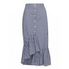 Choies Monochrome Plaid High Waist Ruffle Hem Skirt ($34) ❤ liked on Polyvore featuring skirts, black, ruffle hem skirt, high waisted plaid skirt, high-waisted skirts, tartan skirt and tartan plaid skirt