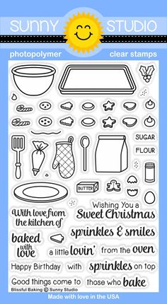 Sunny Studio - Clear Stamp - Blissful Baking-Bake up some fun and create darling scenes using our new Blissful Baking set. The images & coordinati Sunnies Studios, Card Making Supplies, Art Supplies, Baking Set, Digi Stamps, Clear Stamps, Clear Acrylic, Cardmaking, Gift Tags