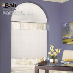Struggling to cover an arched window? Get an arched cellular shade to match horizontal shades perfectly. Save 20% on all Bali shades during May!