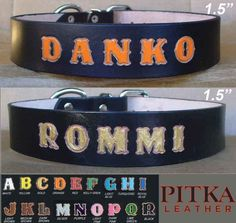 Black Leather Dog Collar - Dog Leather Collar Personalized - XL Custom Collars | eBay
