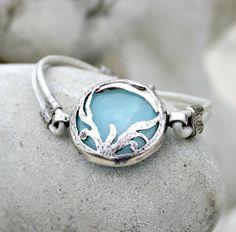 Silk Road - Bohemian Leather Bracelet - Silver, Jade Gemstone, Blue, White
