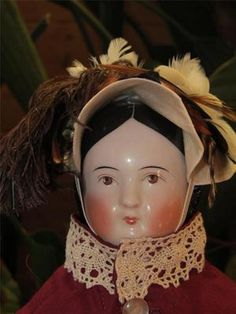 """ANTIQUE 19"""" COVERED WAGON CHINA HEAD DOLL CIRCA 1850'S WITH RARE BROWN EYES 