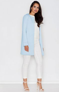 Blue Jacket cute open front great with any outfit polyester This item is Imported Shipping Time 15 days Size S M L XL Bust cm cm cm cm Waist c Light Blue Coat, Blazers, White Turtleneck, Jackets For Women, Clothes For Women, Blue Coats, Basic Outfits, Model, Round Collar