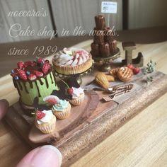 こんにちは 森の中のケーキ屋さんset.完成ですーーっ 出品概要については、まだ未定ですが来週あたりヤフオクへ出品予定です! ライトグリーンのドリップケーキがお気に入りです☺️ ちっちゃな姫林檎ちゃんも… また、詳細UPしまーーす #ミニチュア #ドールハウス #miniature #dollhouse #フェイクスイーツ #お菓子 #シルバニア #ブライス #blythe #clayart #森 #ケーキ屋さん #ケーキ #cake