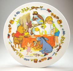Vintage 1970s Winnie the Pooh Children's Plate, Walt Disney Productions, National Home Products Artisan Ware