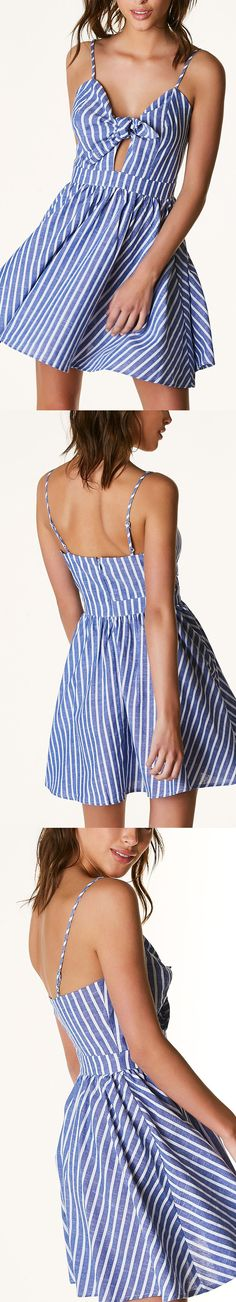 Flirty sleeveless A-line dress with stripe patterns throughout. Front knot design with cut out at center. Adjustable shoulder straps with hidden back zip closure. - Cotton-Polyester blend - Imported -