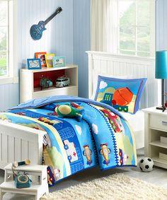Another great find on #zulily! Blue Trucks Comforter Set #zulilyfinds