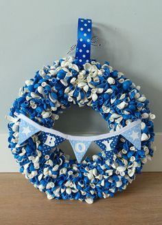 Geboortekrans jongen - ballonkrans - krans blauw