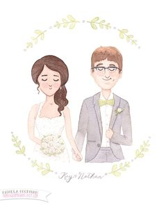 Custom Wedding Portrait Illustration Original by PamelaGoodmanArt