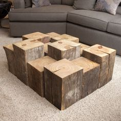 Give new life to reclaimed materials that enrich your living space. Susie Frazier's Beam Block Table is created with structural beams from century old properties in Cleveland. The repurposed wood has Wooden Pallet Furniture, Western Furniture, Wooden Pallets, Rustic Furniture, Cool Furniture, Antique Furniture, Furniture Design, Outdoor Furniture, Furniture Logo
