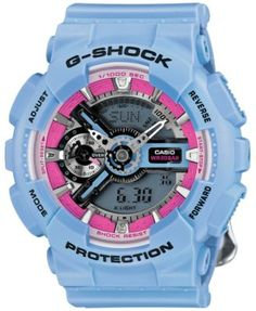 G-Shock Women's Analog-Digital Floral Blue Resin Strap Watch 49x46mm GMAS110F-2A