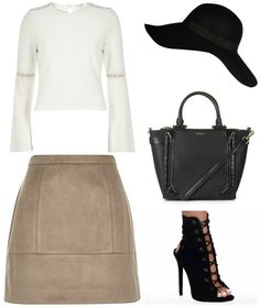 Stylebaby - Outfit Inspo - Featuring my Payday Wishlist River Island Cream Top River Island Light Brown Skirt River Island Black Floppy Hat Topshop Smart PU Holdall River Island Black Ankle Boots