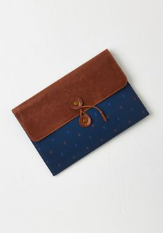 Mainstay By Me Clutch - Blue, Print, Nautical, Military, Rustic, Faux Leather, Woven, Brown, Cotton