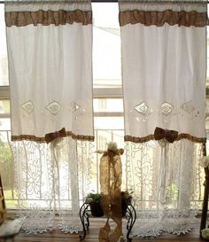 pair vintage curtain panel boho gypsy white shabby rustic chic or burlap shower curtain ruffle