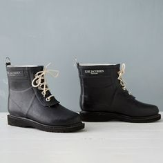 """Designed in Denmark and hand-crafted from sustainable, single-estate rubber, these lace-up boots from Ilse Jacobsen can withstand even the rainiest of days. Adjustable laces and a cozy lining make these boots a welcome wardrobe addition when the weather is gloomy.- Natural rubber, viscose/cotton/synthetic lining, cotton laces- Wash with lukewarm water and gentle soap- Store in dark location- Handmade in EuropeWomen's Sizes 6-116.25""""H, 1"""" heel"""