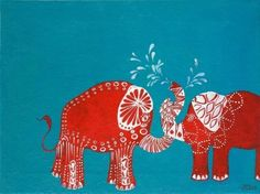 elephant art that inspired a red and turquoise theme