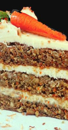 Banana Carrot Cake with Cream of Coconut Cream Cheese Frosting Recipe ~ Moist and delicious