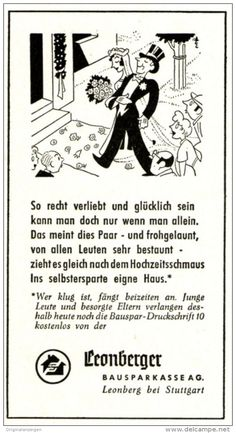 Werbung - Original-Werbung/ Anzeige 1958 - CARTOON / LEONBERGER BAUSPARKASSE - ca. 50 x 100 mm