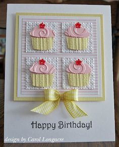 Birthday cupcake card - make sure to use the swirl embossing folder. Handmade Birthday Cards, Happy Birthday Cards, Greeting Cards Handmade, Birthday Wishes, Birthday Greetings, Embossed Cards, Cricut Cards, Kids Cards, Creative Cards