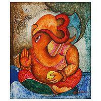 Home Decor, Jewelry & Gifts by Talented Artisans Worldwide Shri Ganesh, Ganesha Art, Lord Ganesha, Krishna, Ufo, Ganesha Painting, Selling Art, Stretched Canvas Prints, Disney Art
