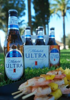 Msg for 21+ #AD | Shrimp & Mango Shrimp Skewers and a Refreshing Michelob ULTRA #MiCervezaPremium