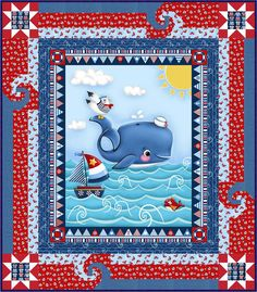 OMGoodness! Free quilt pattern for this fun kids quilt. Easy to make and sure to make a child happy. This panel quilt with a nautical theme is perfect for a gift. Pieced Brain: A Whale of a Time - 2 Free Patterns