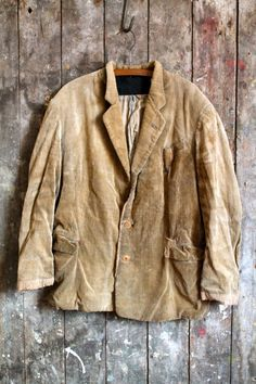 Antique brown jacket 1940s French hunting work jacket by SMIDIRINI
