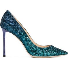 Jimmy Choo glitter 'Romy' pumps ($546) ❤ liked on Polyvore featuring shoes, pumps, green, stiletto pumps, metallic pumps, slip-on shoes, high heel shoes and slip on shoes