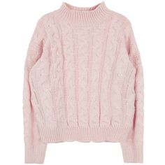 Cable Knit High Neck Sweater ($37) ❤ liked on Polyvore featuring tops, sweaters, pink, shirts, bunny sweater, loose sweater, cableknit sweater, high neck shirts and pink sweater