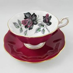 Royal Albert Red Tea Cup and Saucer with Black Rose