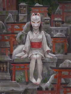 The Blind Ninja - dummy-kanji: (vía Pin de yuki ackerman en KITSUNE. Character Concept, Character Art, Concept Art, Character Design, Japanese Mythology, Japanese Folklore, Manga Art, Anime Art, Kitsune Mask