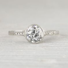 Image of 1.03 Carat Vintage Art Deco Diamond Solitaire Engagement Ring