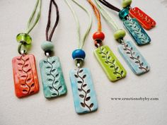 Colorful Ceramic Necklace, Leaf, Branch, Spring, Summer Feel Rectangular Pendants, pottery pendant on  silk cords