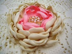 Rhinestone Brooch - Flower Brooch - Fabric Flower Brooch - Brooches - Magnetic Pin - Magnetic Shawl Pin- Gift for Her - Magnetic Corsage by OtherCuteStuff on Etsy