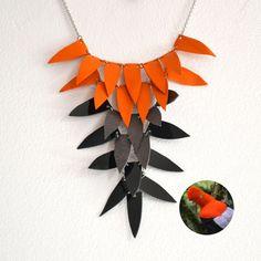 Bib necklace Orange statement necklace by SlinkyLinksJewellery