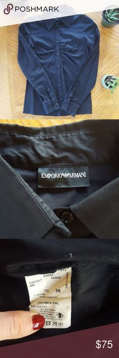 NWOT Emporio Armani Button Down Dress Blouse Tags removed, but never worn. Perfect condition. Size 38 euro size, fits like a size 2. Let me know if you have any questions! Emporio Armani Tops Button Down Shirts