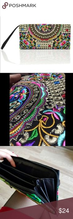 Embroidered Thai Boho Wristlet Clutch Handbag Just in! Bags Clutches & Wristlets