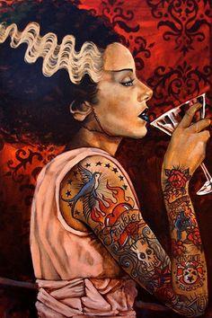 Frankenstein Bride © Mike Bell I #Arte, Pintura I #Jalouin I Coctel Demente #Halloween