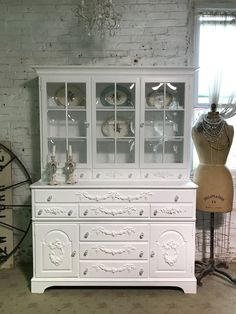Painted Cottage Prairie Chic Pink One of a Kind Vintage China Cabinet FREE SHIPPING CC1078