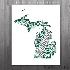 East Lansing Michigan Landmark State Glicée Print  by PaintedPost, $15.00 #paintedpoststudio - Michigan State University - Spartans - MSU- What a great and memorable gift for graduation, sorority, hostess, and best friend gifts! Also perfect for dorm decor! :)