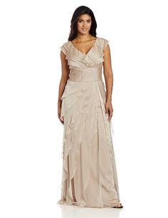 Adrianna Papell Women's Plus Size Chiffon Tiered Dress, Fawn, 16w