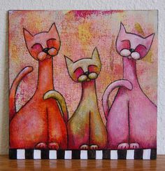 """Happy Cat Trio  8"""" x 8""""  Private Collection   Original acrylic painting on canvas board"""