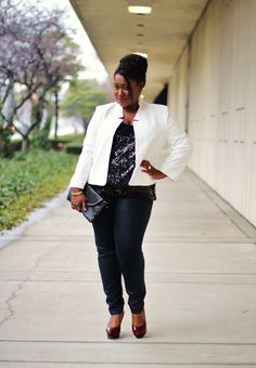 Simple Sequins: White Blazer + Sequin Cami