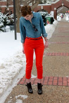 chambray + red pants