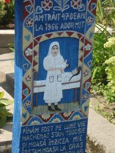 The gravestone of a nurse. Ioan Stan Patras, Cimitirul Vesel (The Merry Cemetery) - Săpânţa, Romania