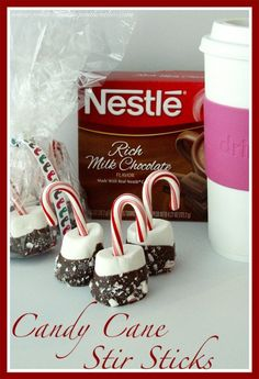 Candy Cane Stir Sticks are an easy and fun neighbor gift! by whatscookingwithruthie.com #recipes #gift_idea # christmas